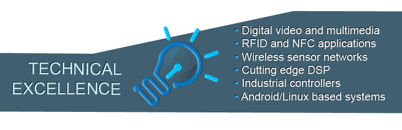 Technical excellence: digital video and multimedia, RFID and NFC applications, wireless sensor networks, cutting edge DSP, industrial controllers, Android/Linux based systems